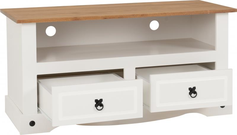 Corona 2 Drawer Flat Screen TV Unit in White/Distressed Waxed Pine