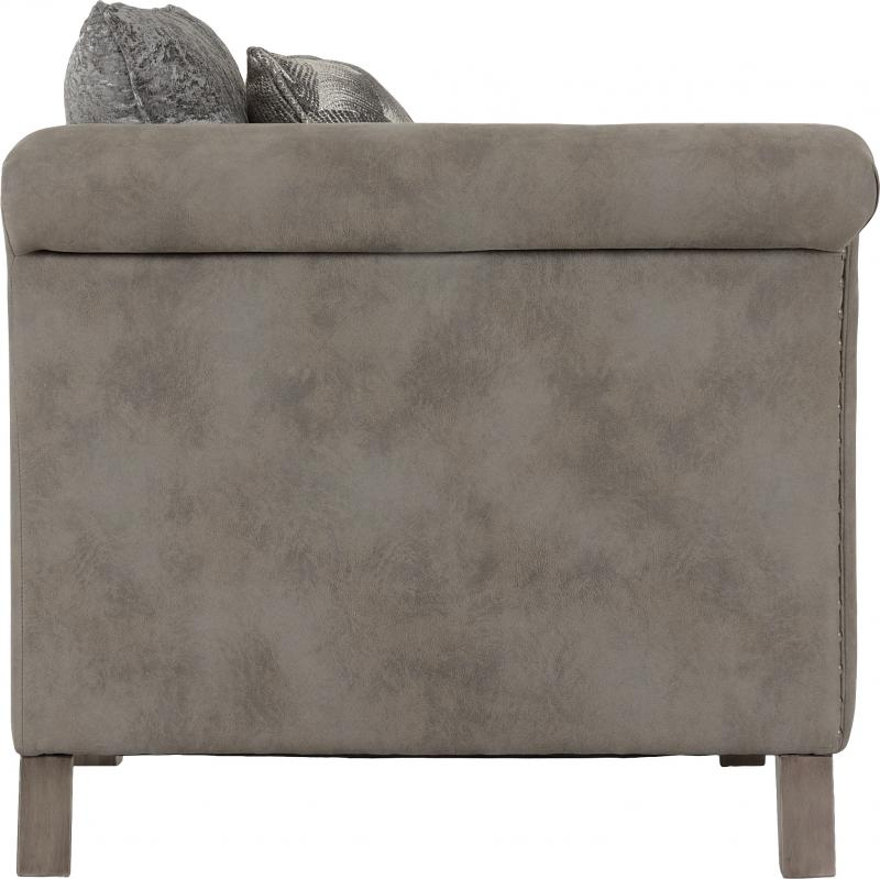 Grace 3 Seater Sofa in Silver/Grey Fabric