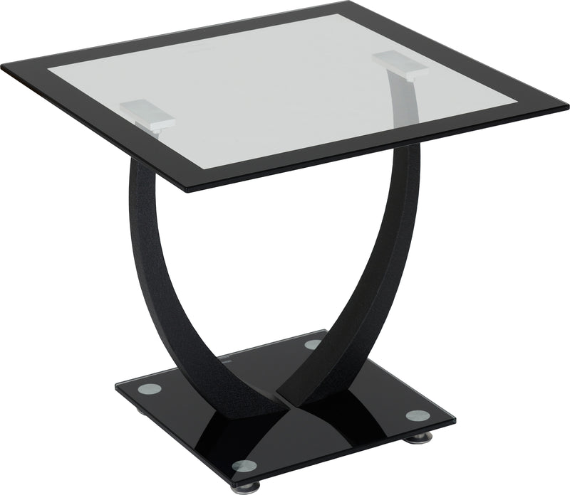 Hanley Lamp Table in Clear Glass/Black Border/Black Glass/Black
