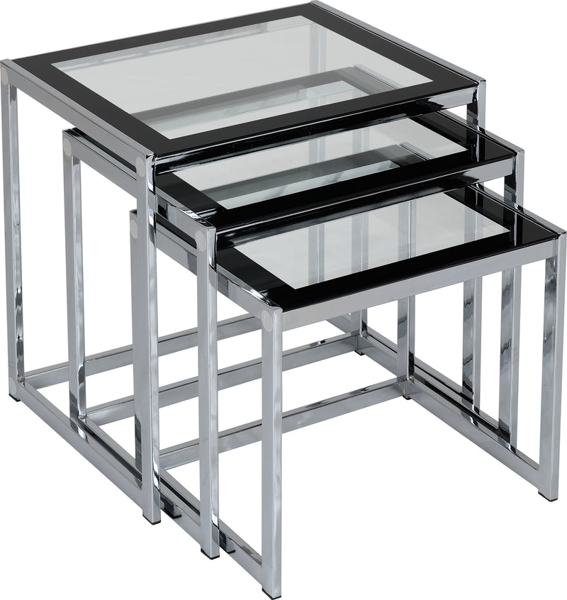 Hanley Nest of Tables in Clear Glass/Black Border/Chrome