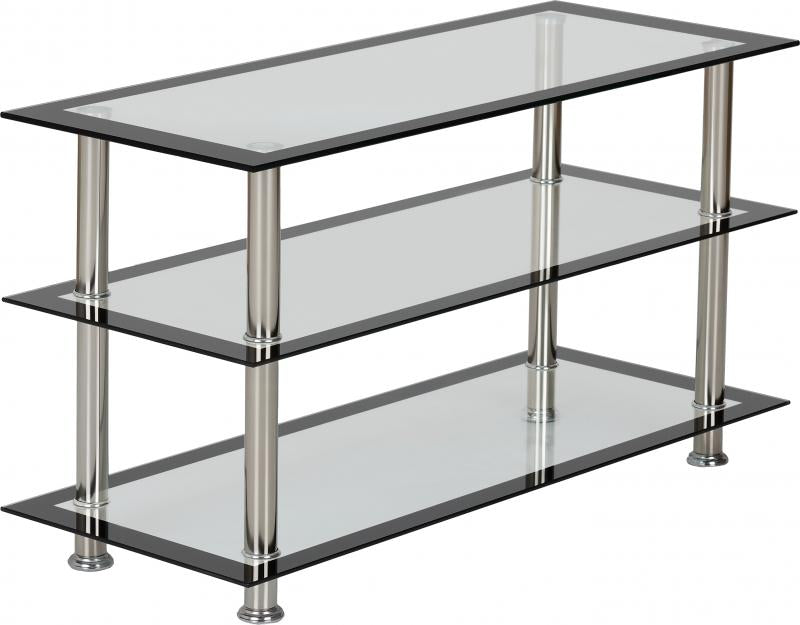 Harlequin TV Unit in Clear Glass/Black Border/Silver