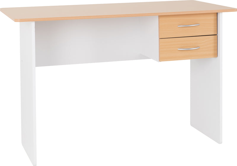 Jenny 2 Drawer Study Desk in Beech/White