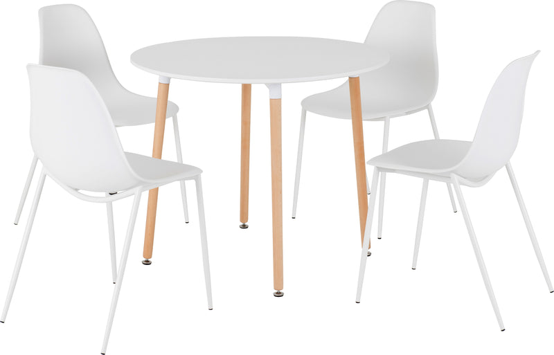 Lindon Dining Set in White/Natural Oak/White