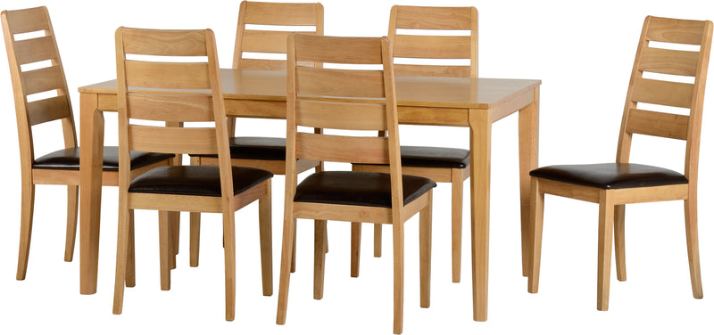 Logan 1+6 Dining Set  in Oak Varnish/Brown Faux Leather