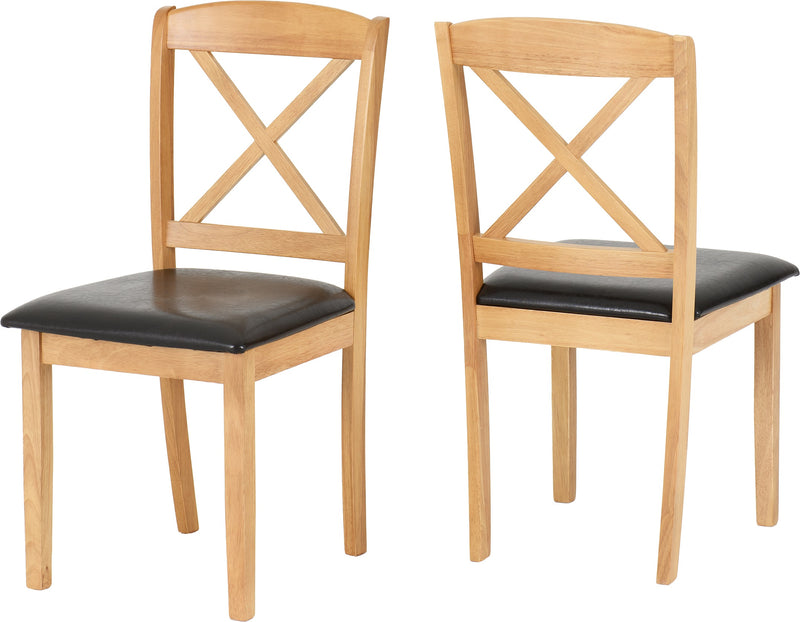 Mason Chair in Oak Varnish/Brown Faux Leather (Pair)