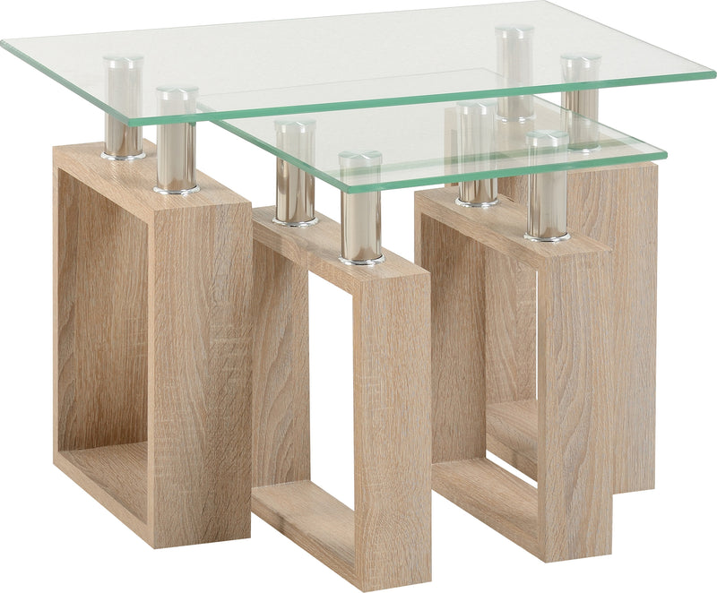 Milan Nest of Tables in Sonoma Oak Effect Veneer/Clear Glass/Silver