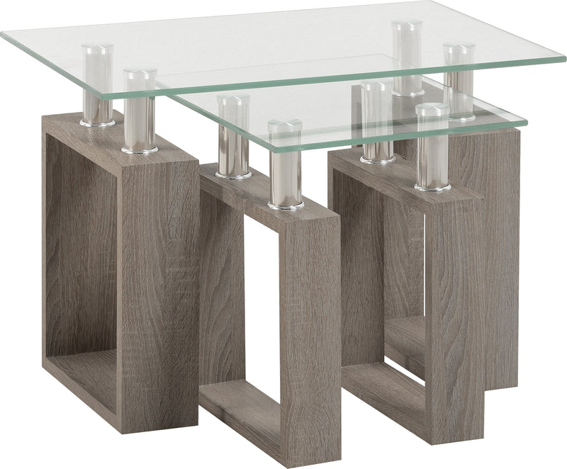 Milan Nest of Tables in Light Charcoal/Clear Glass/Silver