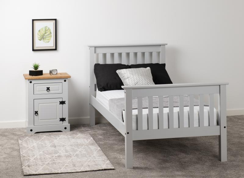Monaco 3' Bed High Foot End in Grey