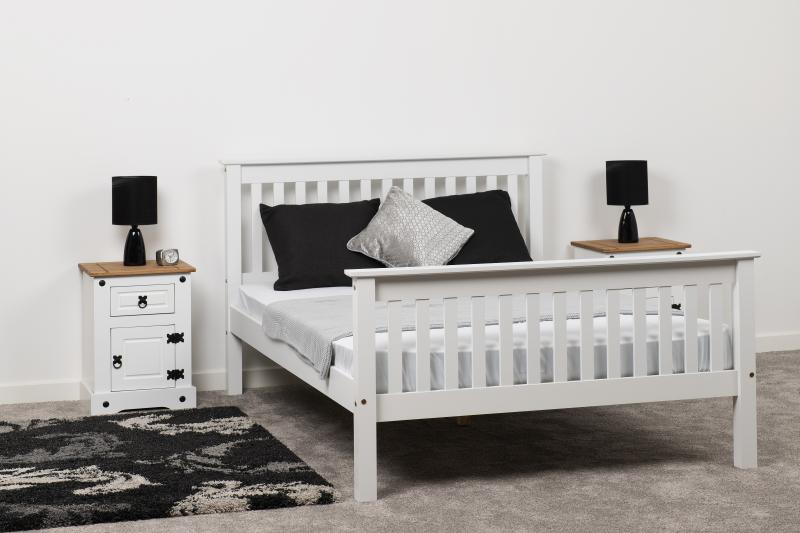 Monaco 5' Bed High Foot End  in White