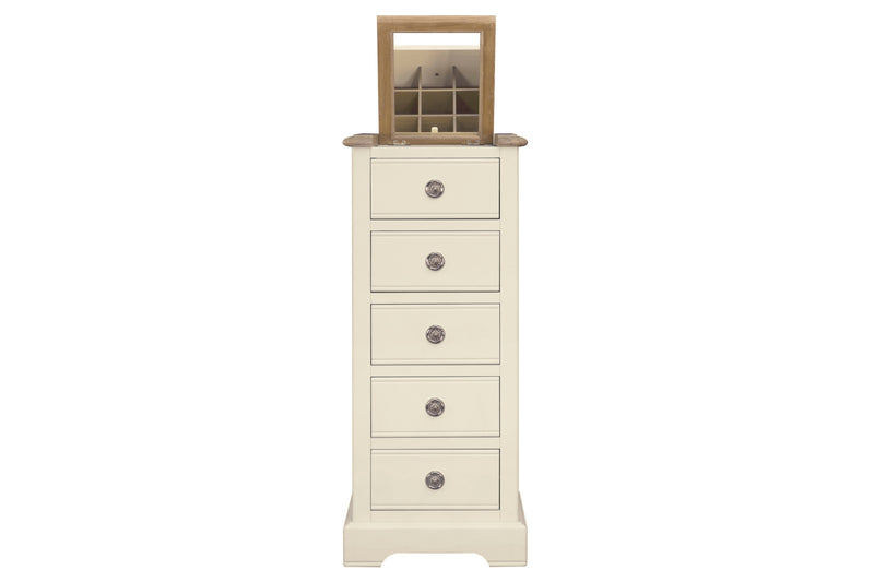 Meghan Oak 5 Drawer Tallboy