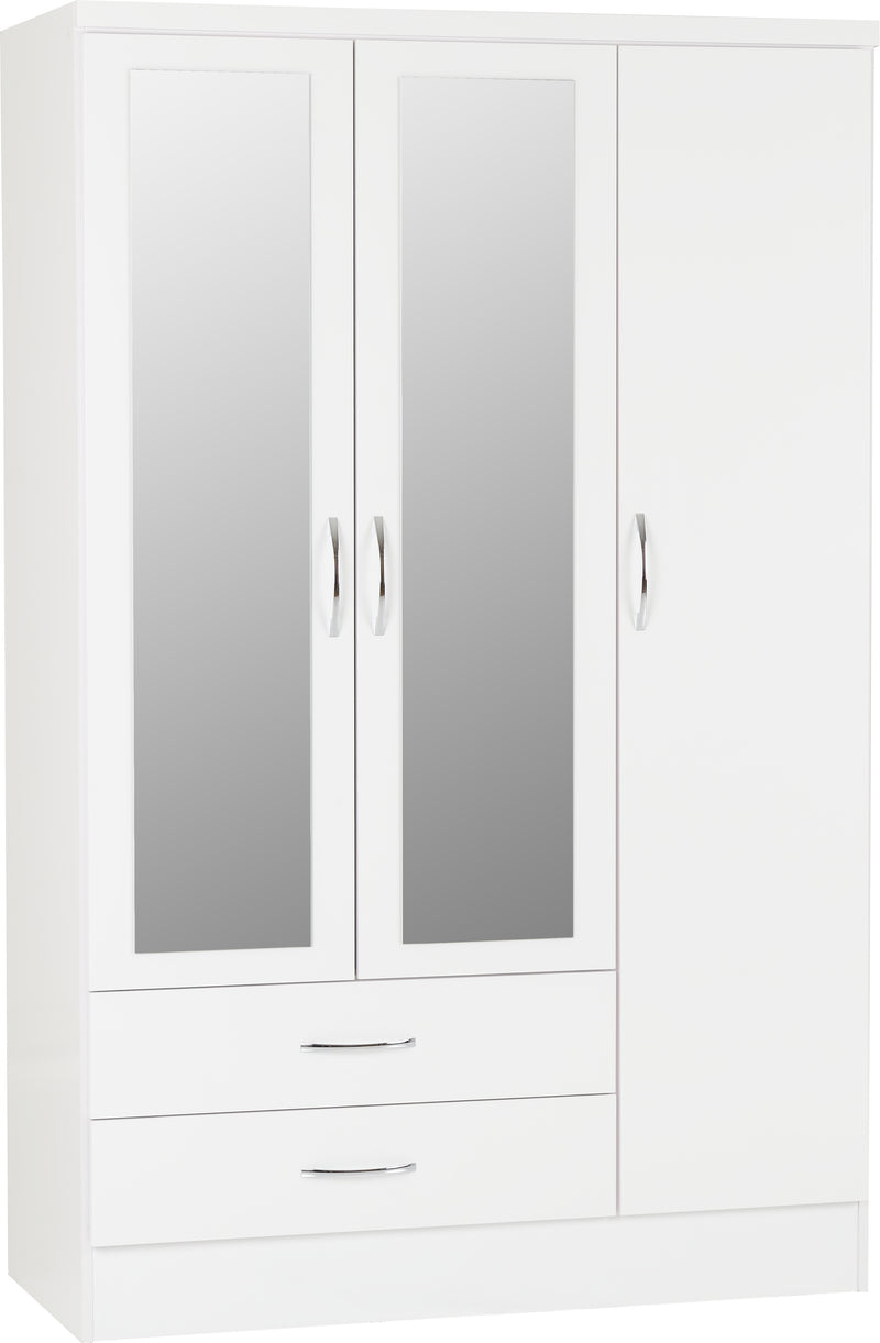 Nevada 3 Door 2 Drawer Mirrored Wardrobe in White Gloss
