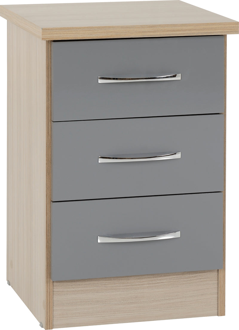 Nevada 3 Drawer Bedside in Grey Gloss/Light Oak Effect Veneer