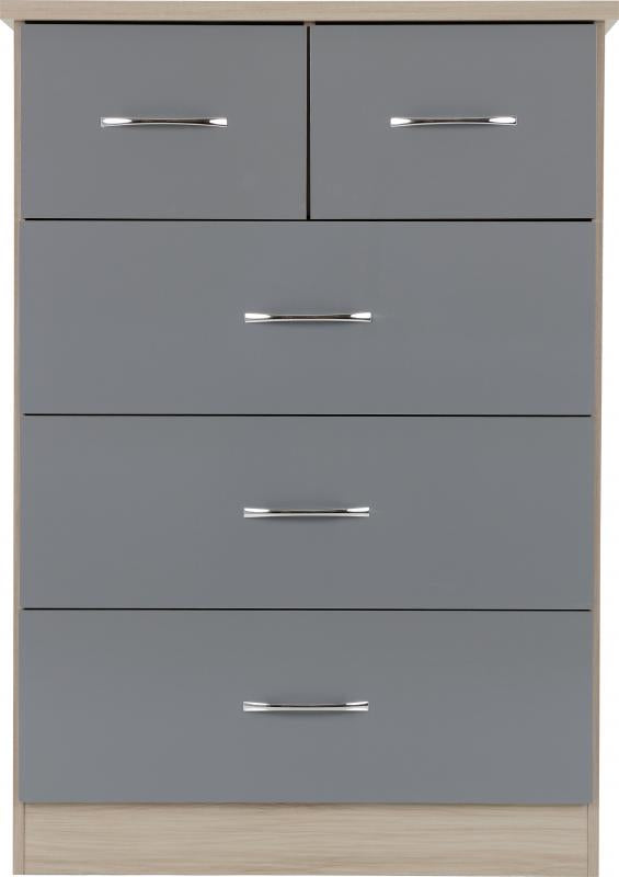 Nevada 3+2 Drawer Chest in Grey Gloss/Light Oak Effect Veneer