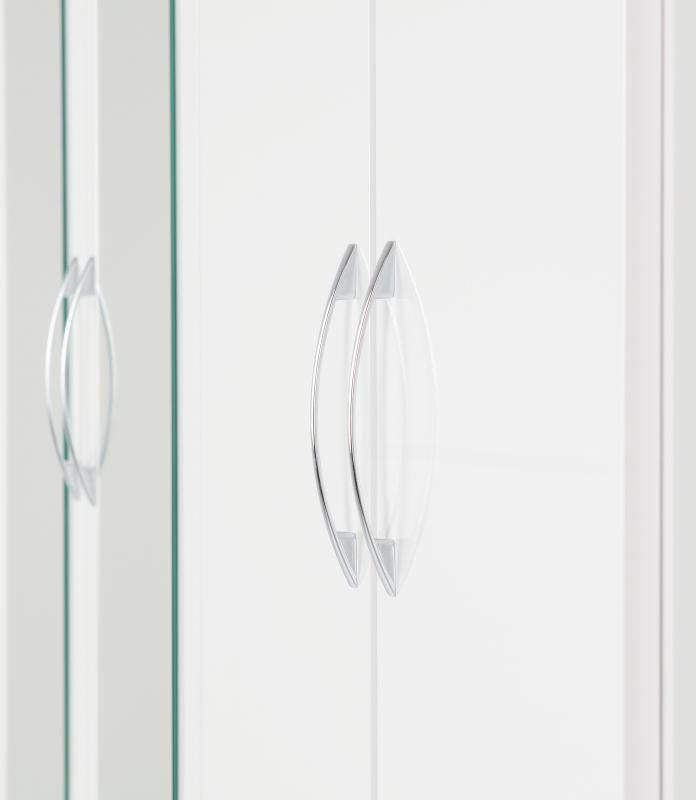Nevada 4 Door 2 Drawer Mirrored Wardrobe in White Gloss