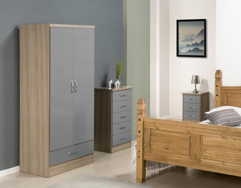 Nevada 2 Door 1 Drawer Wardrobe in Grey Gloss/Light Oak Effect Veneer