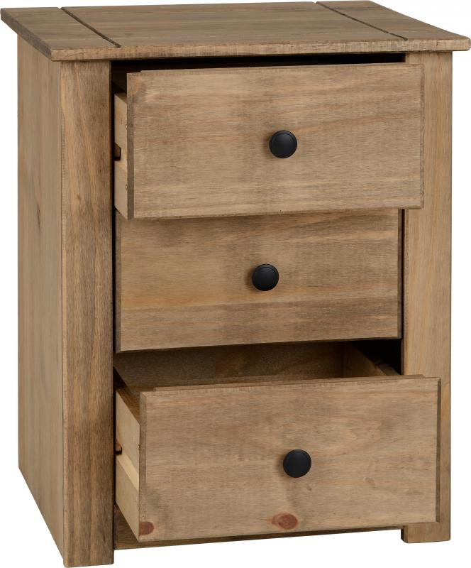 Panama 3 Drawer Bedside in Natural Wax