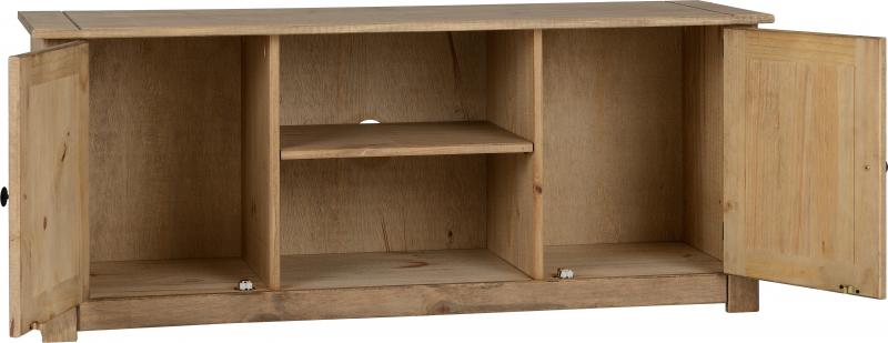 Panama 2 Door 1 Shelf Flat Screen TV Unit in Natural Wax