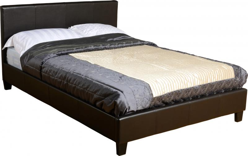 Prado 4' Bed in Brown Faux Leather