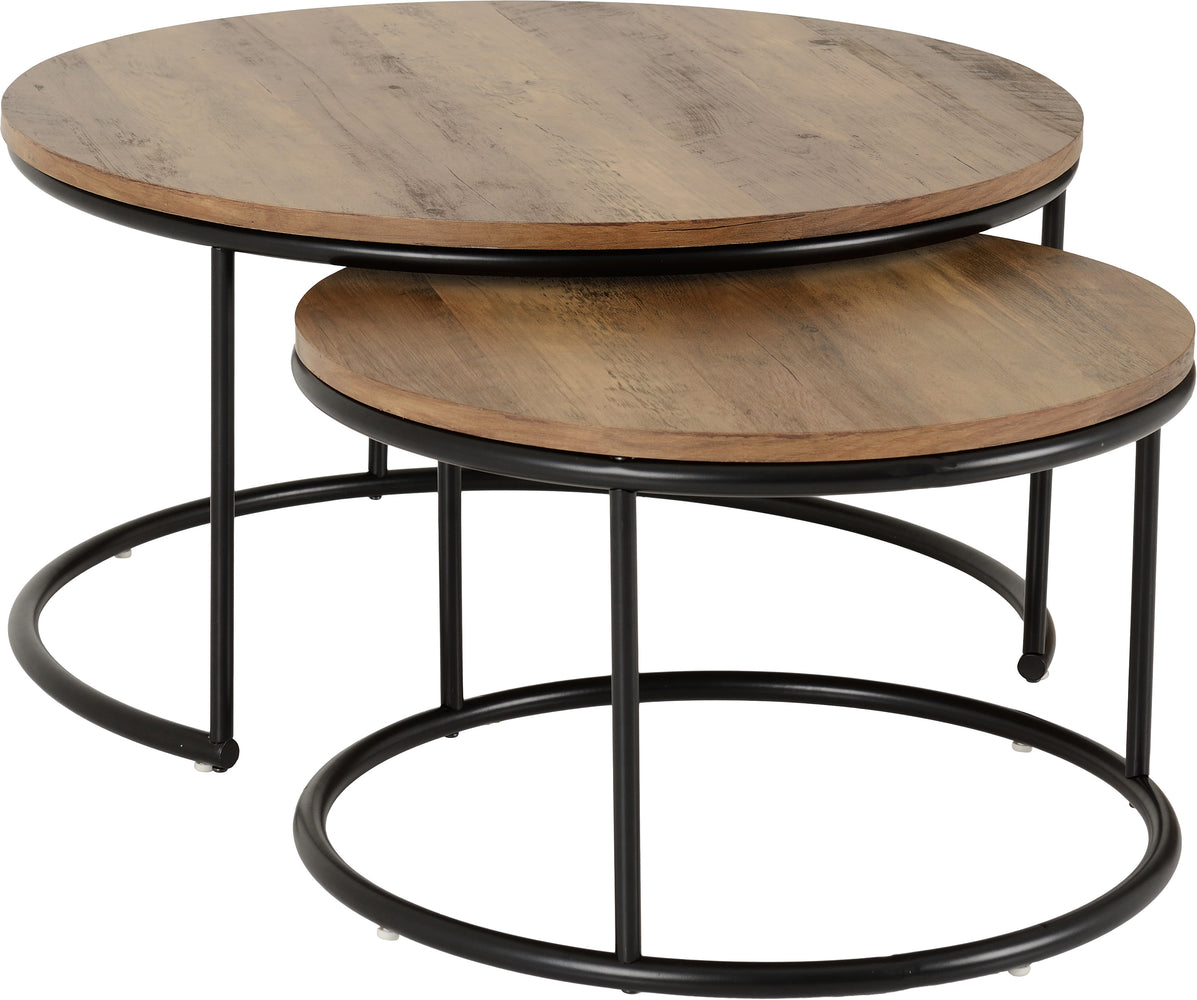 Quebec Round Coffee Table Set in Medium Oak Effect/Black