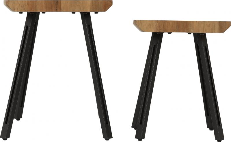 Quebec Wave Edge Nest of Tables in Medium Oak Effect/Black