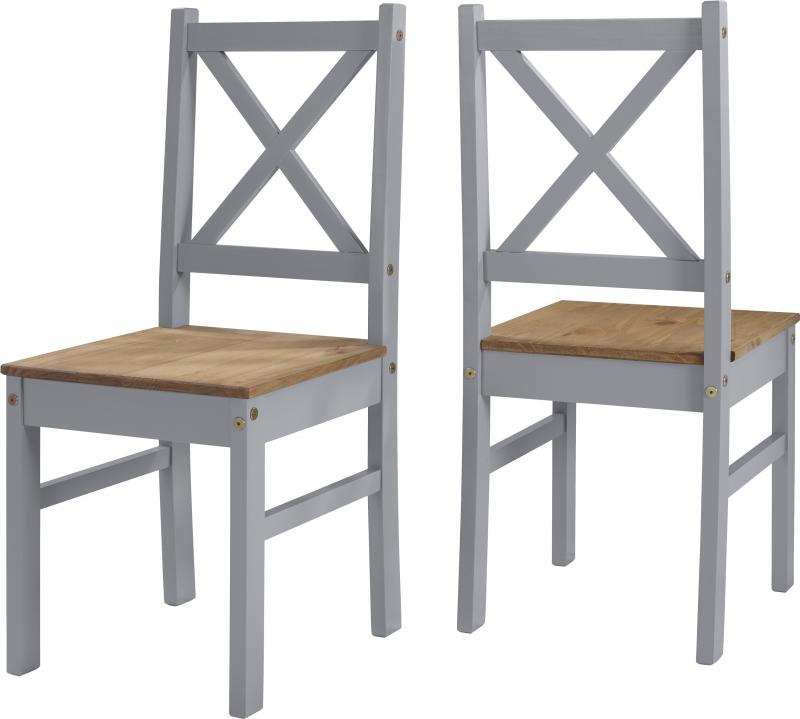 Salvador 1+2 Tile Top Dining Set in Slate Grey/Distressed Waxed Pine