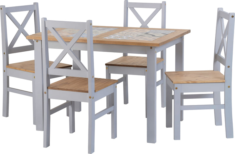 Salvador 1+4 Tile Top Dining Set in Slate Grey/Distressed Waxed Pine