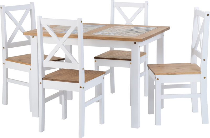 Salvador 1+4 Tile Top Dining Set in White/Distressed Waxed Pine