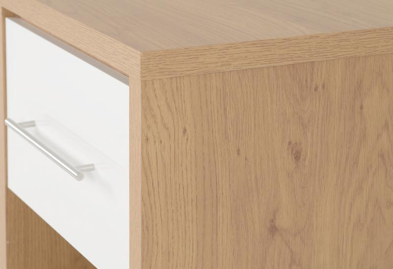 Seville 1 Drawer Bedside Cabinet in White High Gloss/Light Oak Effect Veneer