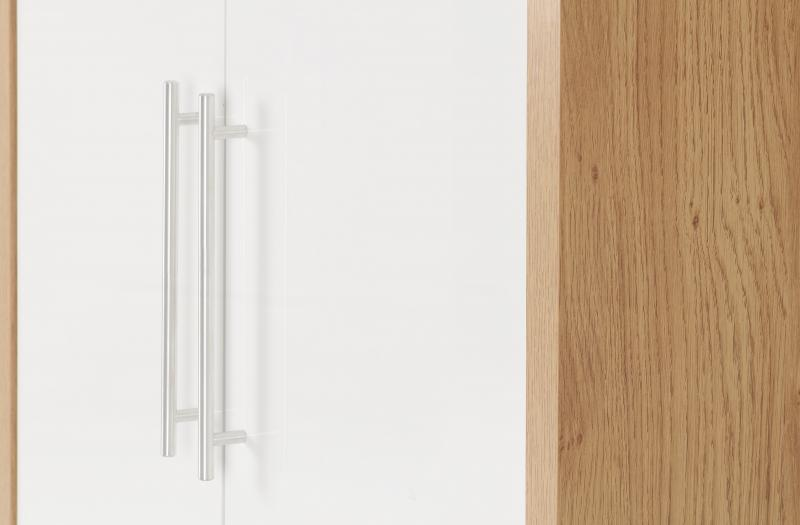 Seville 2 Door Wardrobe in White High Gloss/Light Oak Effect Veneer