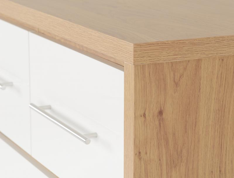Seville 3+2 Drawer Chest in White High Gloss/Light Oak Effect Veneer