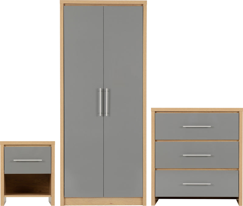 Seville Bedroom Set in Grey High Gloss/Light Oak Effect Veneer