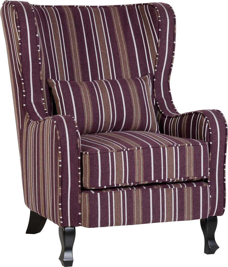 Sherborne Fireside Chair in Burgundy Stripe Fabric