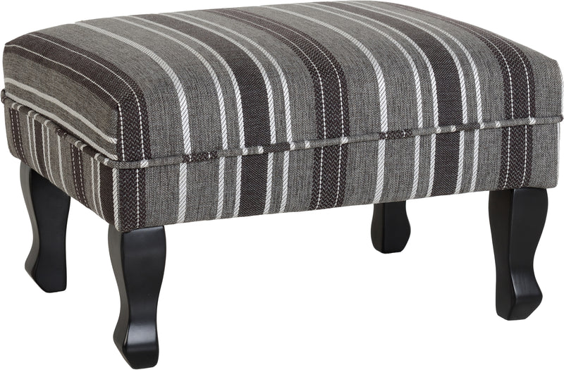 Sherborne Footstool in Grey Stripe Fabric