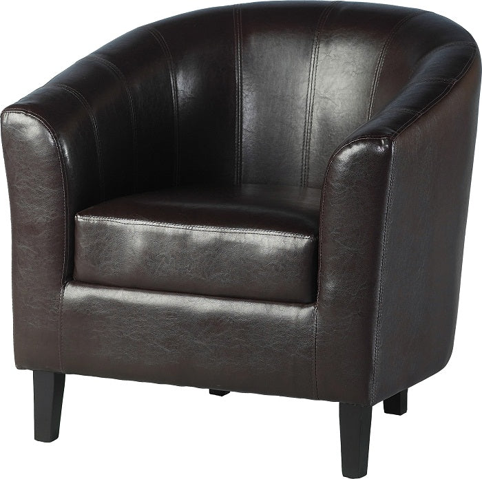 Tempo Tub Chair in Brown Faux Leather