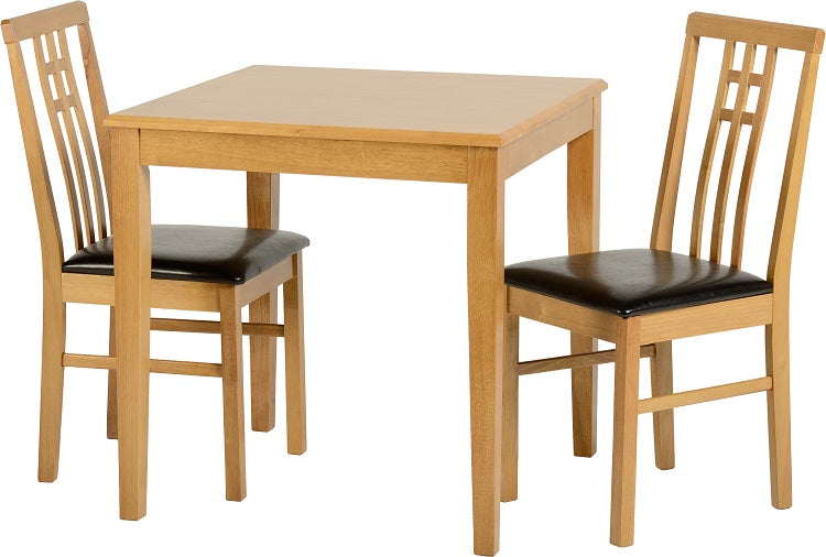Vienna Dining Set in Medium Oak/Brown Faux Leather