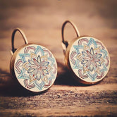 Crazy Boho Flower Drop Earrings Geometric Pattern