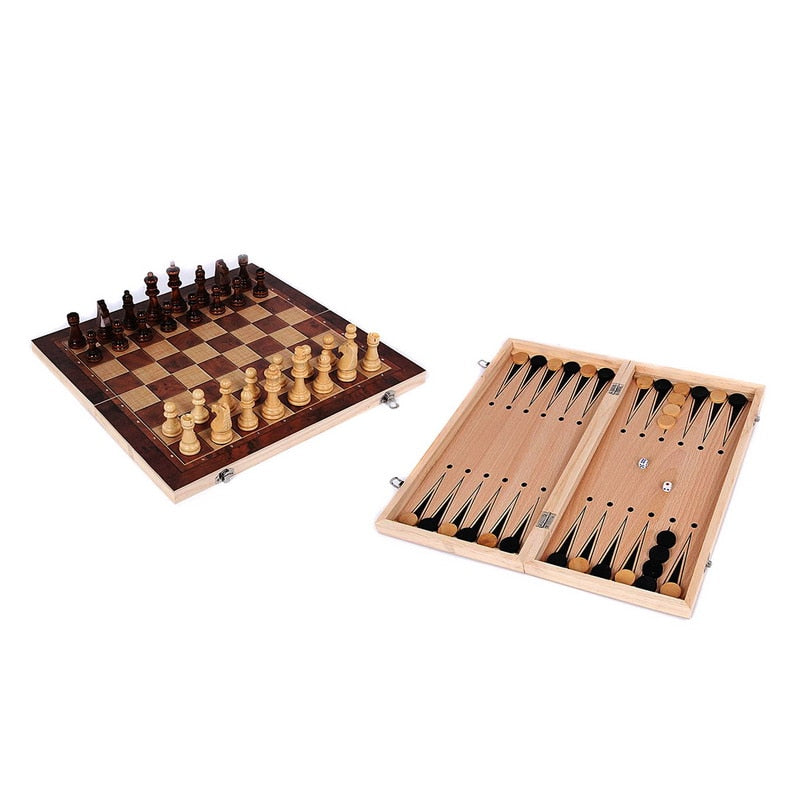 3 in 1 backgammon chess checkers travel games