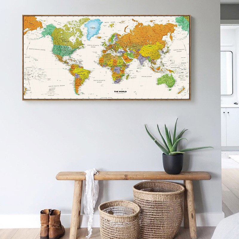 World Map Decorative Vintage poster office