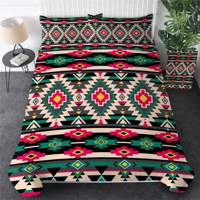 Geometric Native American Bedclothes Aztec 3pcs [The Best Affordable Online Ethnic Shop] - Unusual Trendy