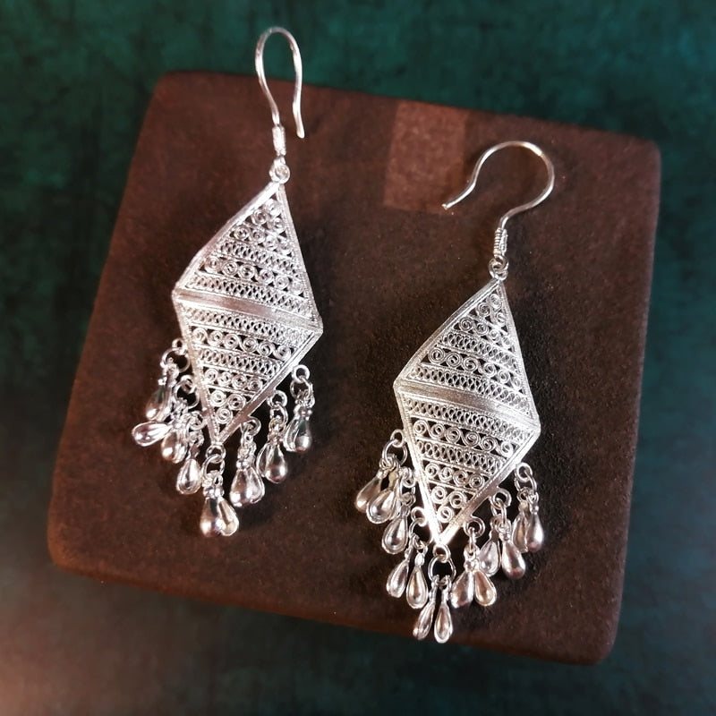 Silver earrings beautiful boho jewelry