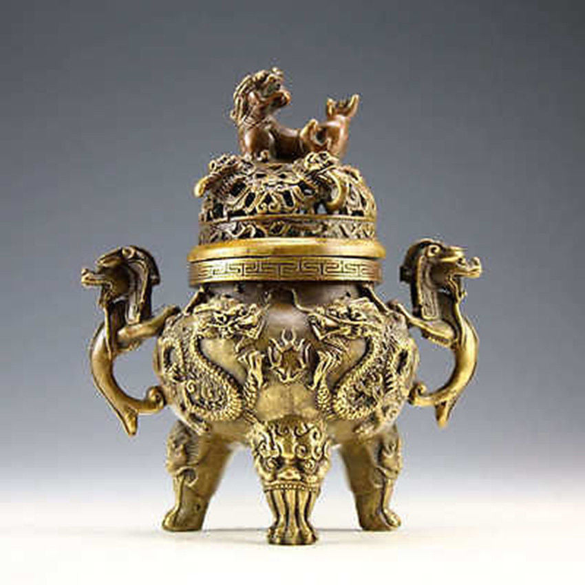 Rare Copper Dragon Tiger Incense Burner