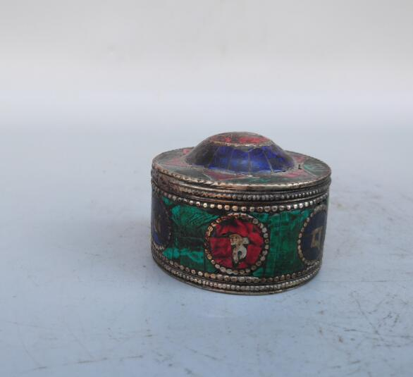 Tibetan silver inlay Turquoise Jewelry box