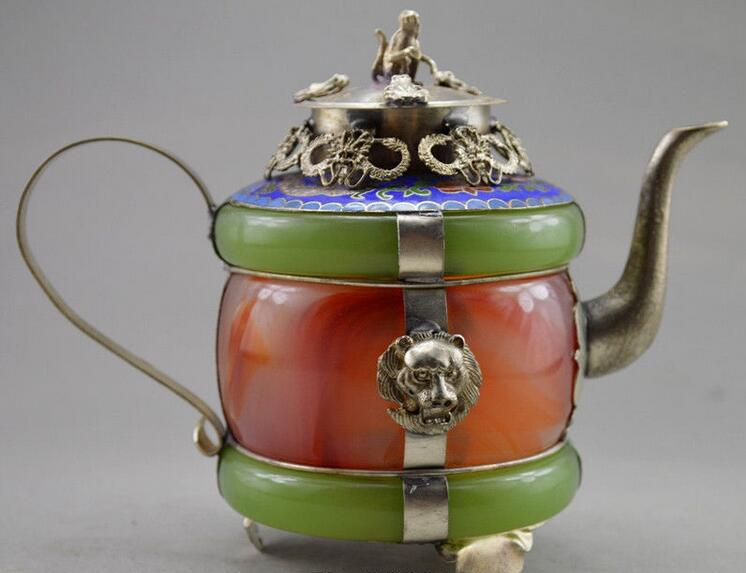 Decorated Jade & Tibet Silver Carved Dragon Tea Pot