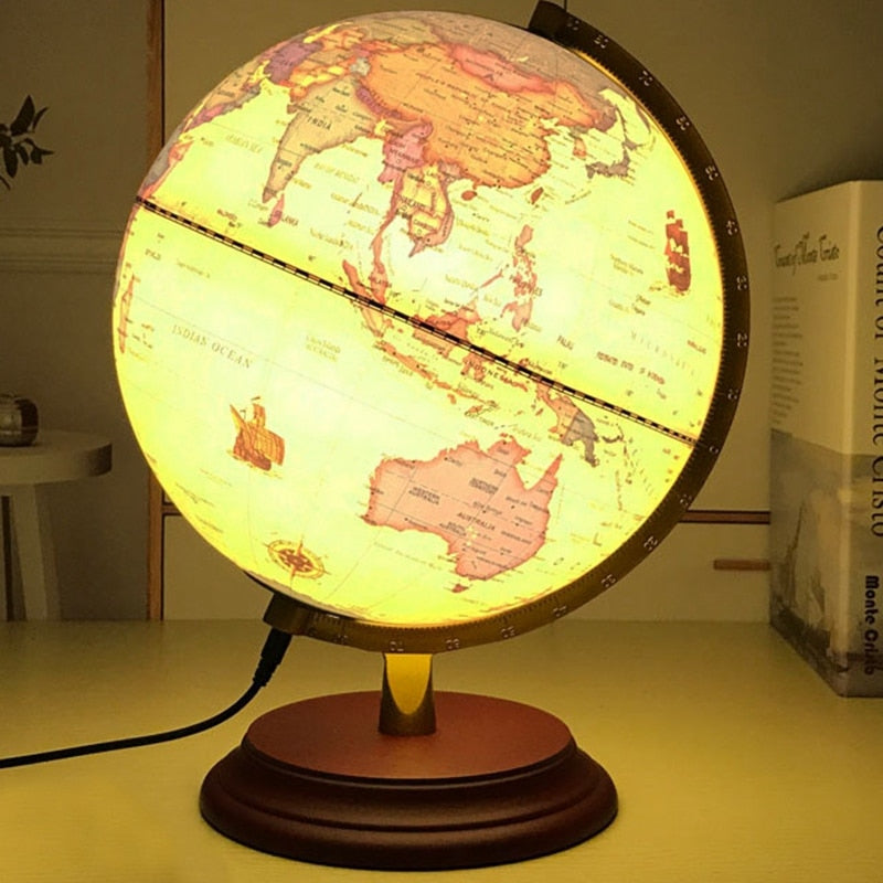 Lampe de 25cm Globe World Earth Map