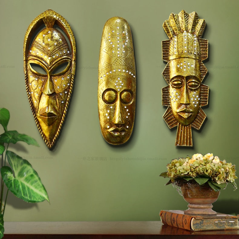 african masks gold resin trendy wall hanging decoration