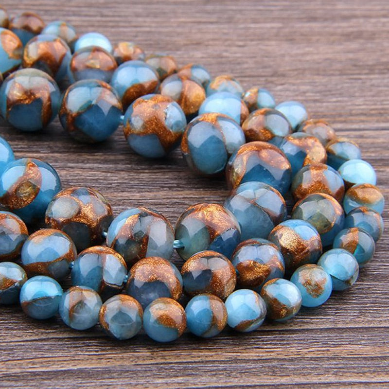 Gold Blue Cloisonne Beads For DIY Making