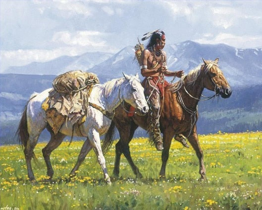 Oil painting native Indians horse home decor