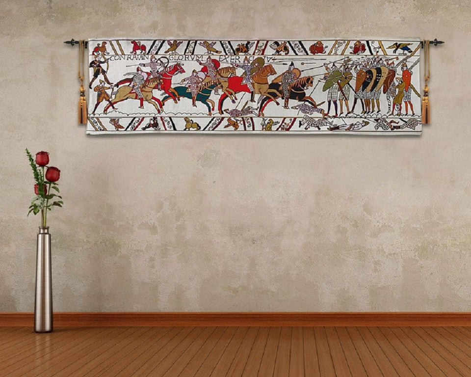 Cotton floral wall tapestry medieval bayeux