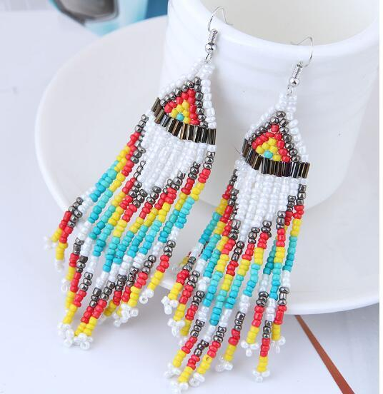 Ethnic Jewelry Boho Chic Tassel Drop Earrings [The Best Affordable Online Ethnic Shop] - Unusual Trendy
