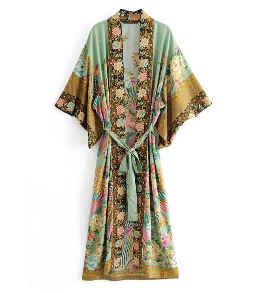 Long kimono dress bohemian flower print [The Best Affordable Online Ethnic Shop] - Unusual Trendy
